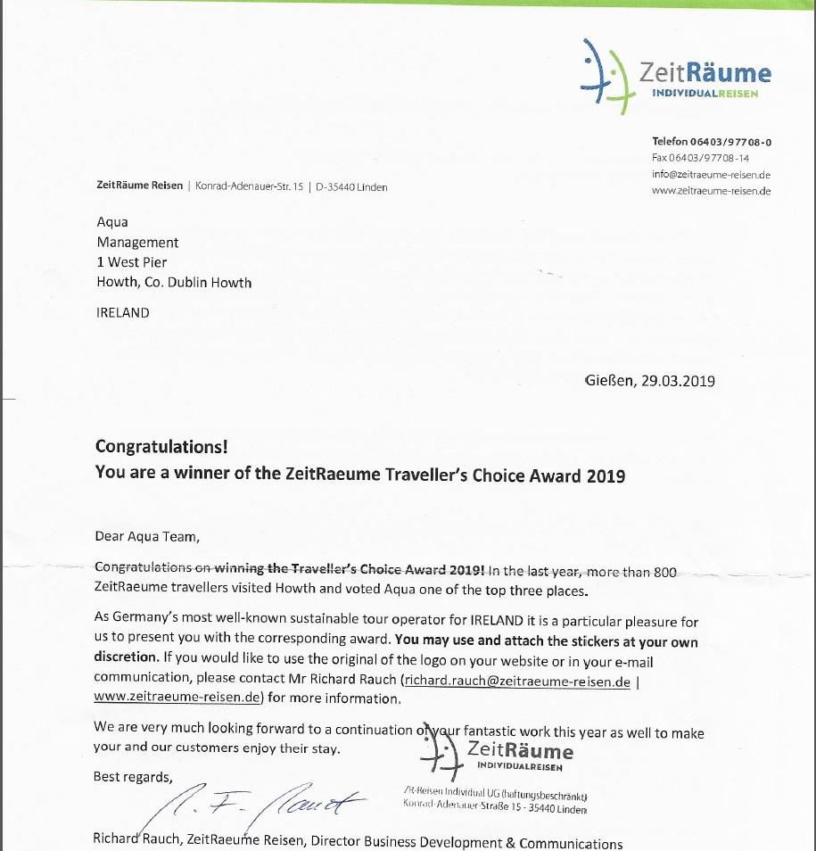 ZeitRaeume Travellers Choice Award 2019